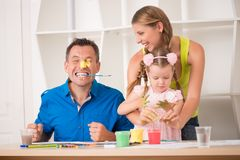 Funny adorable family paining Royalty Free Stock Photos