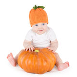 Funny Adorable Little Baby Playing With Big Pumpkin Royalty Free Stock Images