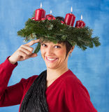 Funny advent woman Royalty Free Stock Photos