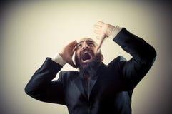 Funny afraid elegant bearded man Stock Image