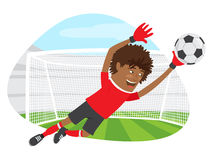 Funny African American soccer football player goalkeeper wearing Royalty Free Stock Image