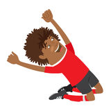 Funny African American soccer football player wearing red t-shir Stock Photo