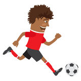 Funny African American soccer football player wearing red t-shir Royalty Free Stock Photography