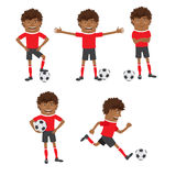Funny African American soccer football player wearing red t-shir Royalty Free Stock Photos