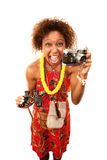 Funny African-American Tourist Royalty Free Stock Photo