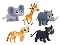 Funny african animals. Vector cartoon isolated characters Royalty Free Stock Photography