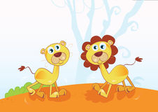 Funny African Lions. Safari animals in nature. Vector Illustration Royalty Free Stock Photos