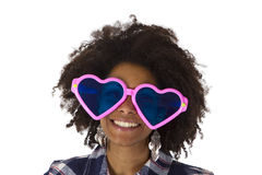 Funny afro american with pink sunglasses. Isolated on white background Royalty Free Stock Image