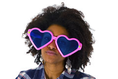 Funny afro american with pink sunglasses. Isolated on white background Royalty Free Stock Photo