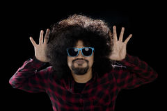 Funny afro man with mocking gesture Royalty Free Stock Photography