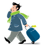 Funny air passenger with suitcase and phone Royalty Free Stock Photo