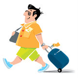 Funny air passenger with suitcase Royalty Free Stock Photos