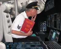 Funny Airline Pilot Learn to Fly Stock Image