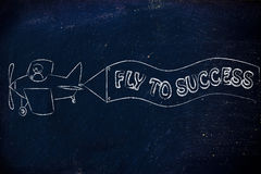 Funny airplaine with banner: fly to success Royalty Free Stock Photography