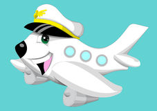 Funny airplane. Smiling airplane on blue background vector illustration