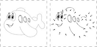 Funny airplane drawing with dots and digits Stock Photos