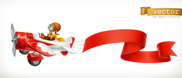 Funny airplane with red banner, 3d vector cartoon Royalty Free Stock Photo