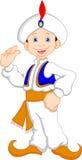 Funny aladdin cartoon waving. Illustration of funny aladdin cartoon waving royalty free illustration