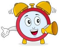 Funny Alarm Clock Character. A funny cartoon alarm clock character holding a megaphone. Eps file available Royalty Free Stock Photos