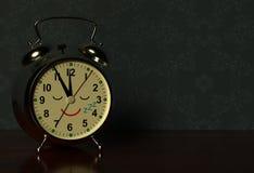 Funny alarm clock sleeps on a table in dark bedroom. 3D vector illustration