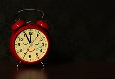Funny alarm clock sleeps on a table in dark bedroom. 3D stock photo