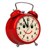 Funny alarm clock on white background. 3D royalty free illustration