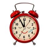 Funny alarm clock on white background. 3D stock illustration