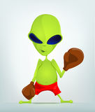 Funny Alien Cartoon Illustration. Cartoon Character Funny Alien  on Grey Gradient Background. Boxing Royalty Free Stock Photo