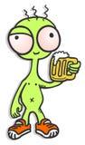 Funny alien drink beer Stock Photo