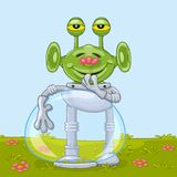 Funny alien with flower Stock Photography