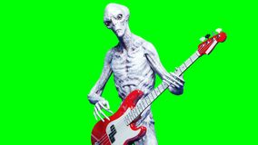 Funny alien plays on bass guitar. Realistic motion and skin shaders. 4K green screen footage.