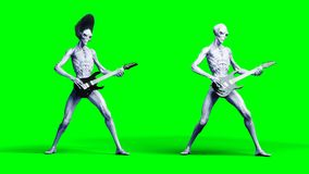 Funny alien plays on electric guitar. Realistic motion and skin shaders. 3d rendering. royalty free illustration