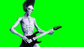 Funny alien plays on electric guitar. Realistic motion and skin shaders. 3d rendering. vector illustration