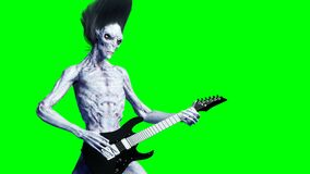 Funny alien plays on electric guitar. Realistic motion and skin shaders. 4K green screen footage.