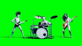 Funny alien rock band. Bass, drum, guitar. Realistic motion and skin shaders. 3d rendering. vector illustration