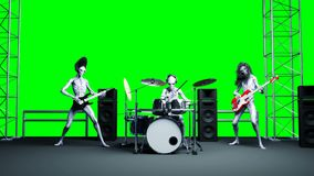 Funny alien rock band. Bass, drum, guitar. Realistic motion and skin shaders. 4K green screen footage.