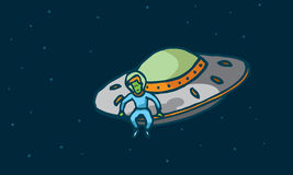 Funny alien sitting in his spaceship Stock Photo