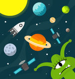 Funny alien in the universe vector Royalty Free Stock Photography