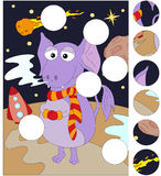 Funny alien on an unknown planet in space. Complete the puzzle a Stock Photography