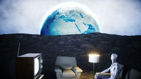 Funny alien watching TV on the sofa on the moon. Living on the moon concept. Earth background. 3d rendering. Funny alien watching TV on the sofa on the moon stock video footage