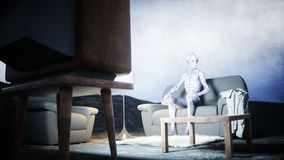 Funny alien watching TV on the sofa on the moon. Living on the moon concept. Earth background. 3d rendering. Funny alien watching TV on the sofa on the moon stock footage