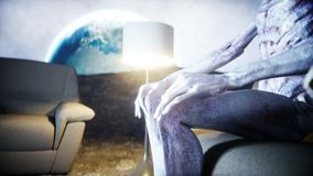 Funny alien watching TV on the sofa on the moon. Living on the moon concept. Earth background. 3d rendering. Funny alien watching TV on the sofa on the moon stock video