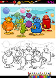 Funny aliens cartoon coloring book Stock Photography