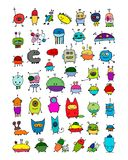 Funny aliens collection, sketch for your design. Vector illustration Royalty Free Stock Images