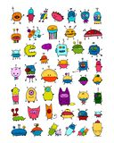 Funny aliens collection, sketch for your design. Vector illustration Stock Images