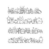 Funny aliens collection, sketch for your design. Vector illustration Stock Image