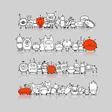Funny aliens collection, sketch for your design. Vector illustration Stock Photo