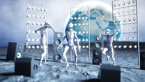 Funny aliens dancing on the moon. UFO concept. Earth on background. Space party. 3d rendering. Royalty Free Stock Photo