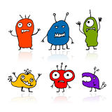 Funny aliens, sketch drawing for your design vector illustration