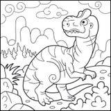 Funny allosaurus, coloring book Stock Photos